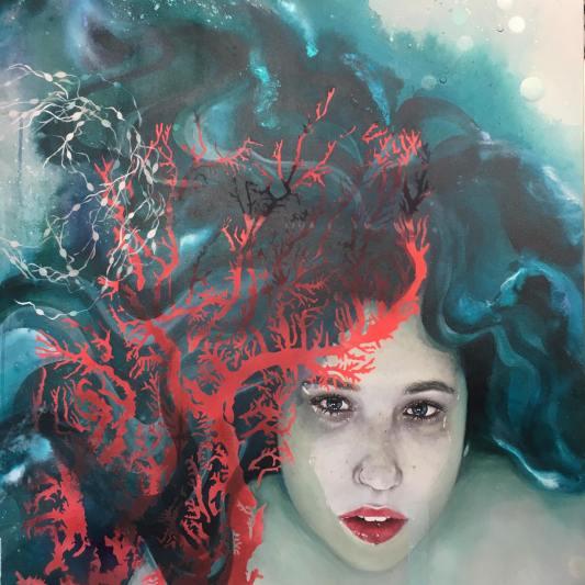 Violaine - acrylique et aérosol sur toile 80x100 cm