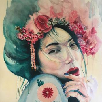 Aphrodite - acrylique et aérosol sur toile 80x100 cm